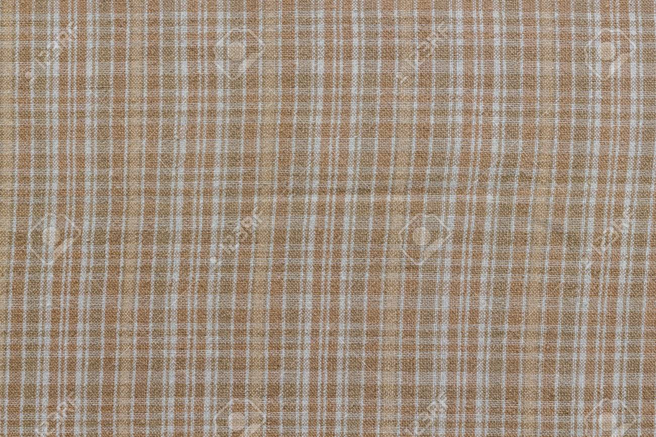 Merveilleux Close Up On Checkered Tablecloth Fabric. Brown With White Tartan Square  Pattern As Background.