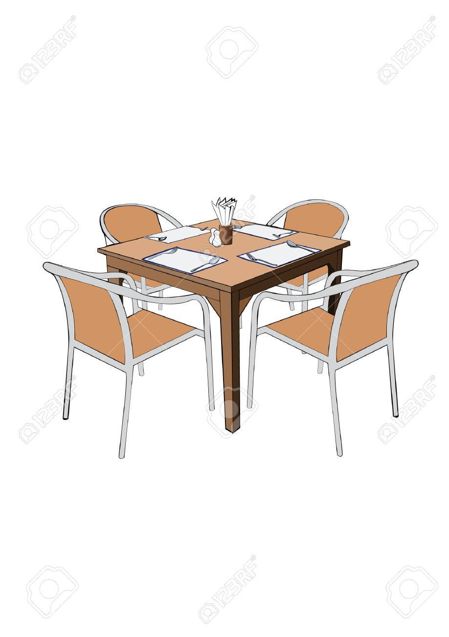 Restaurant tables and chairs clipart - Restaurant Dinner Table With Chair Vector Illustation Stock Vector 29950827