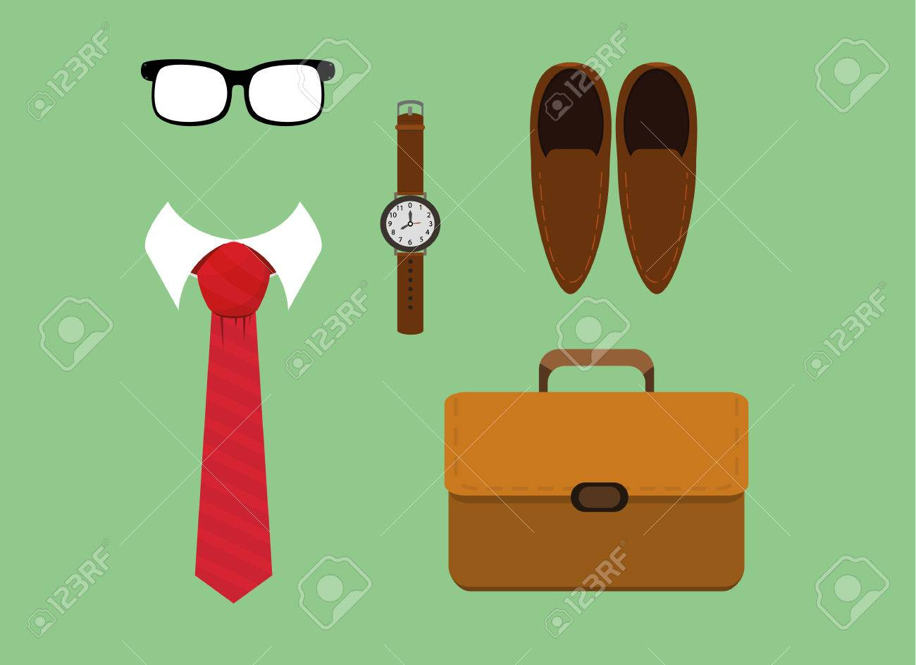 973f185b861 Vector - vector illustration of flat lay men fashion casual accessories  tie