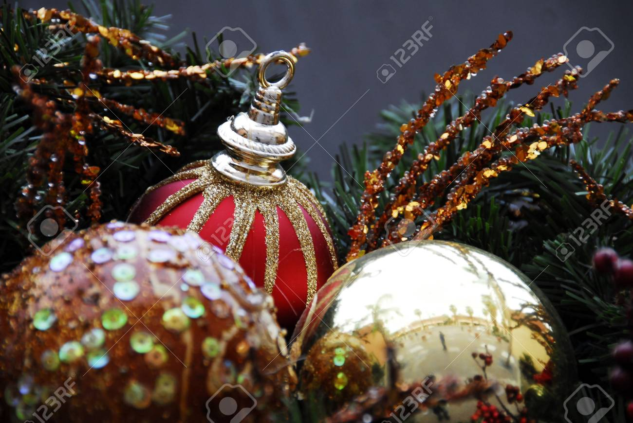 Christmas Decoration Redand Silver Baubles Stock Photo - 3086413