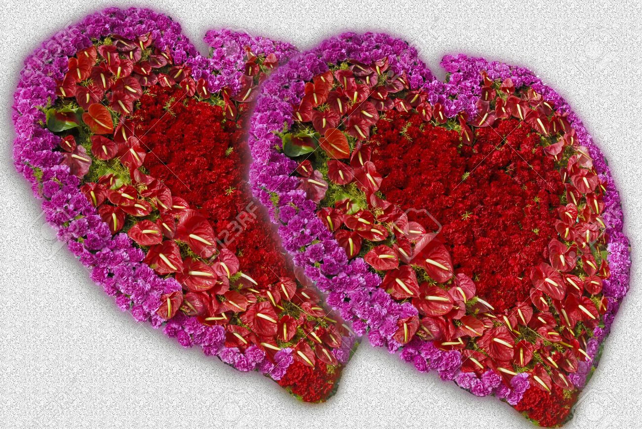 Heart Shaped Flower Decoration With Roses And Assorted Flowers Stock