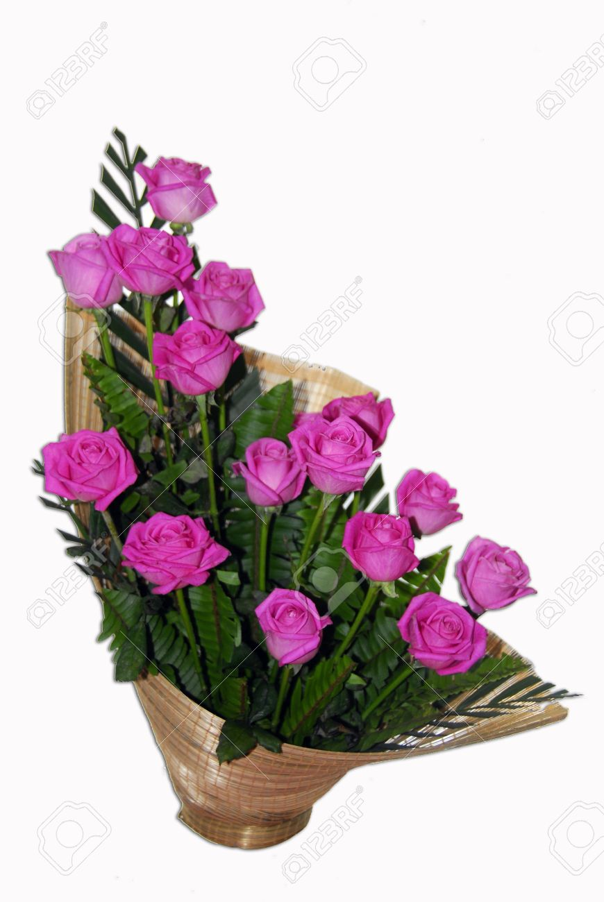 Isolated Shot Of Pink Rose Flowers In Ikebana Flower Bouquet Stock Photo