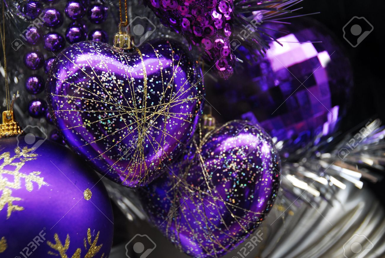 Purple and silver christmas decorations - Blue Silver Colored Christmas Decoration Baubles With Texture On A Christmas Tree Stock Photo 6448433