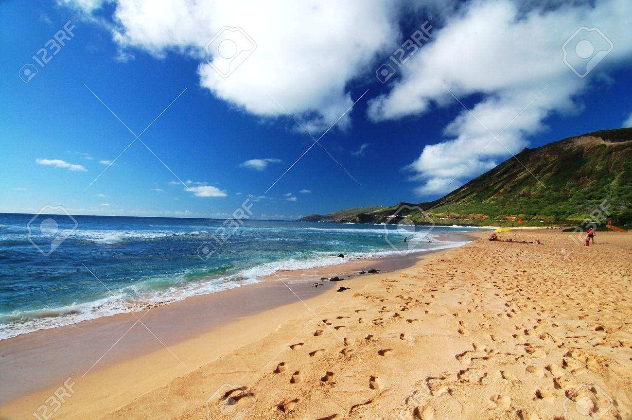 scenic view of the sandy beach in Honolulu Hawaii USA Stock Photo - 8698181