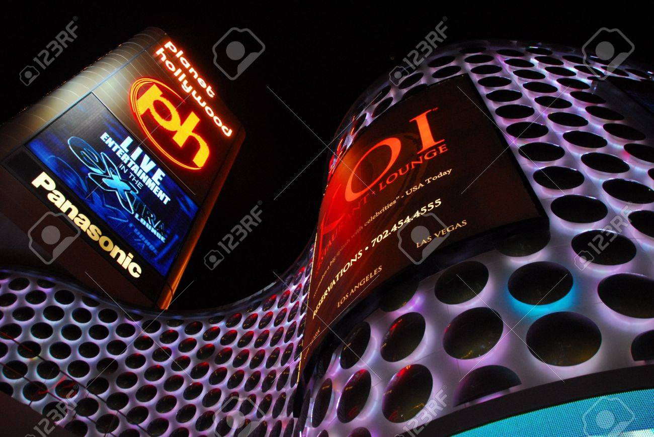 planet hollywood casino entrance with dazzling lights in las vegas Stock Photo - 13576077