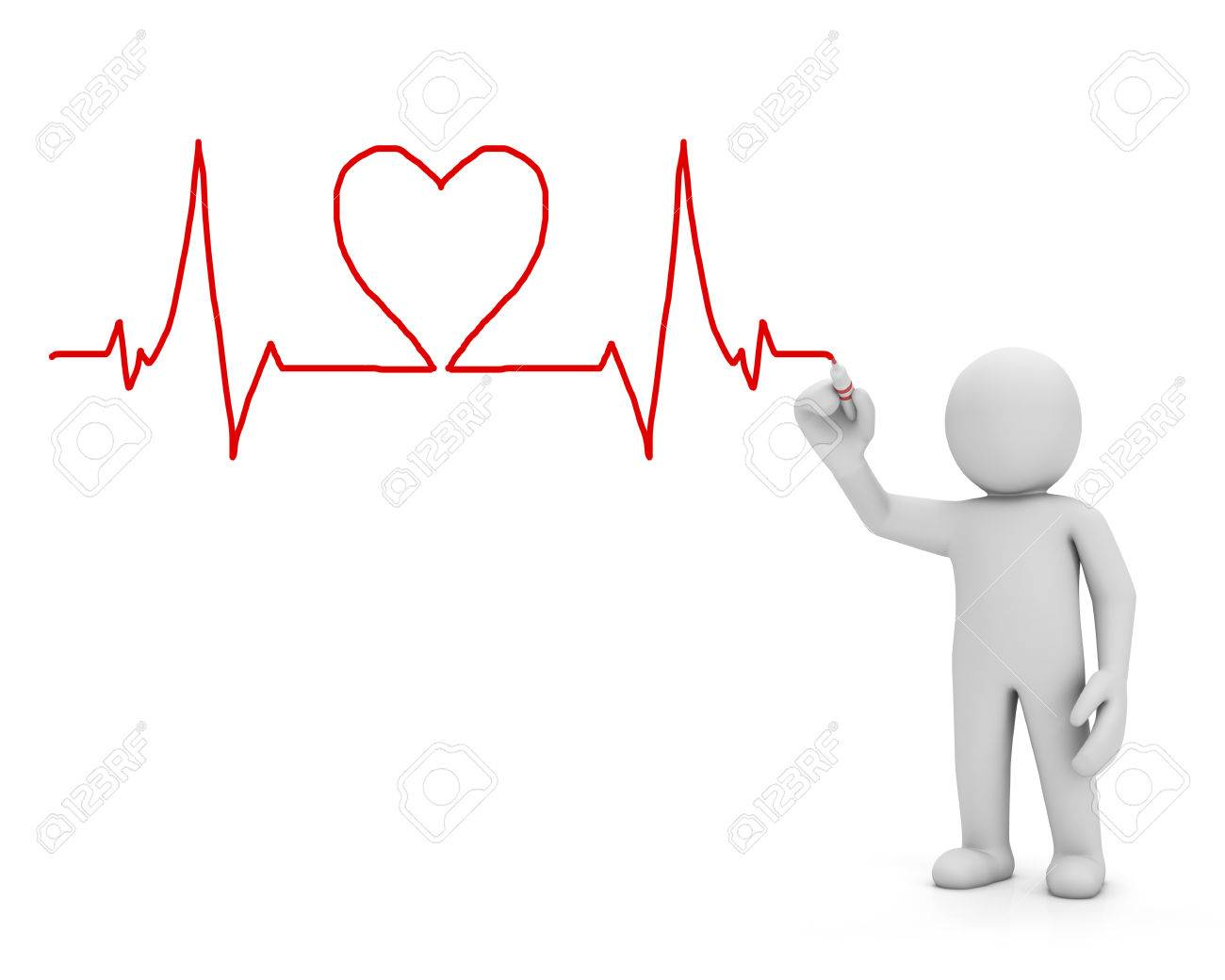 Heartbeat Medicine Hand Drawing 3d Render Stock Photo Picture And
