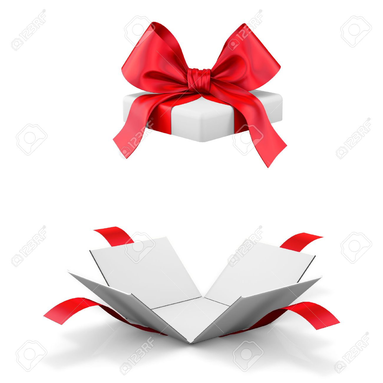 Open gift box over white background 3d illustration stock photo illustration open gift box over white background 3d illustration negle Images