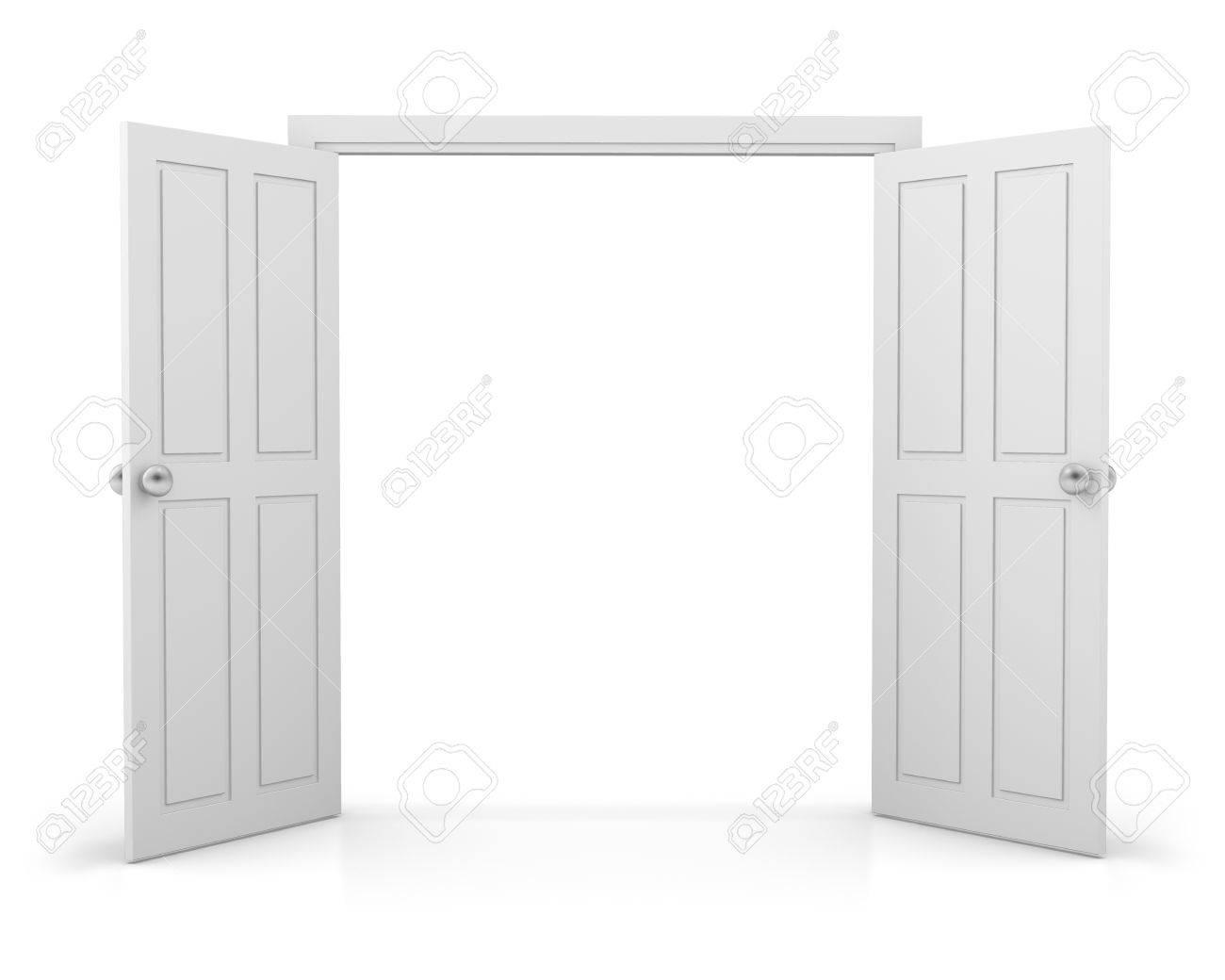 white double door. 3d White Double Door On Background Stock Photo - 53249405