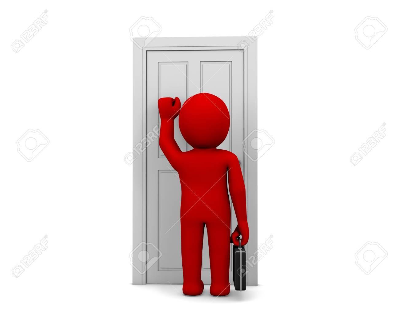 Businessman knocking at a door - 54770556