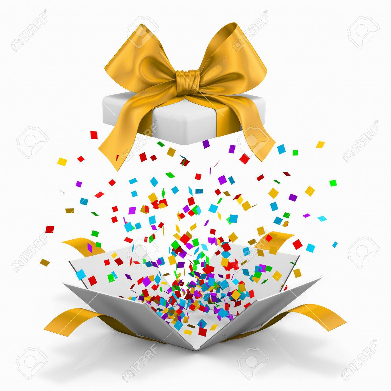 Photo opened realistic gift box with yellow bow and confetti gift box for birthdays christmas new  sc 1 st  topsimages.com : exploding gift box confetti - princetonregatta.org