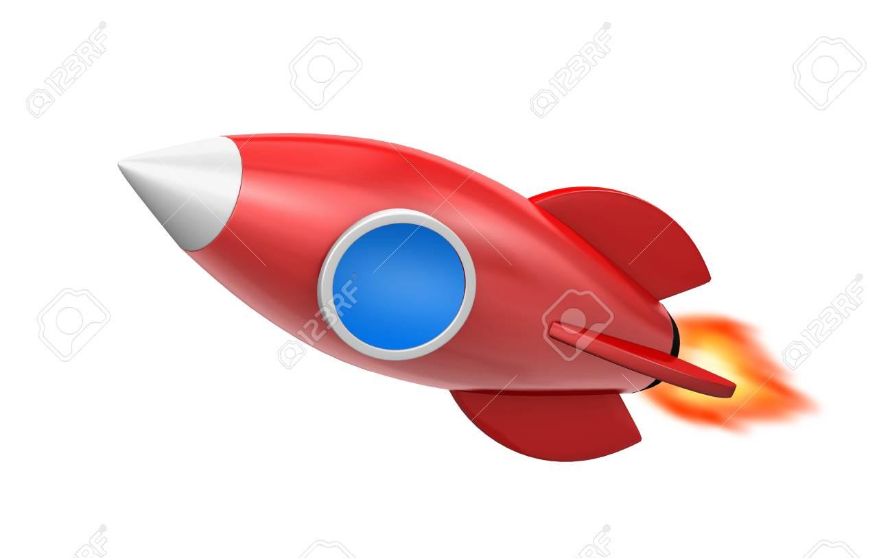 かわいい漫画ロケット宇宙船3 D レンダリングのイラスト の写真素材