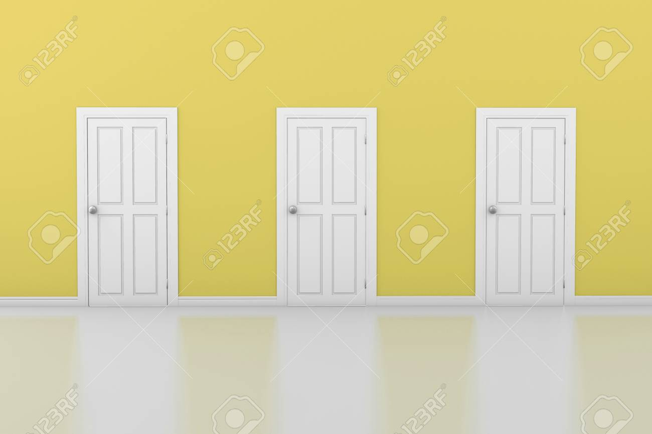3d Interior With 3 White Doors And Yellow Walls, 3d Rendering Stock ...