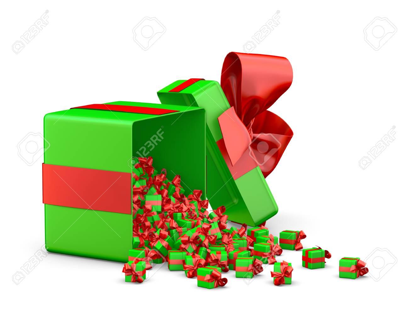 Eine Menge Von Roten, Grünen Geschenk-Box Für Weihnachten, Neujahr ...