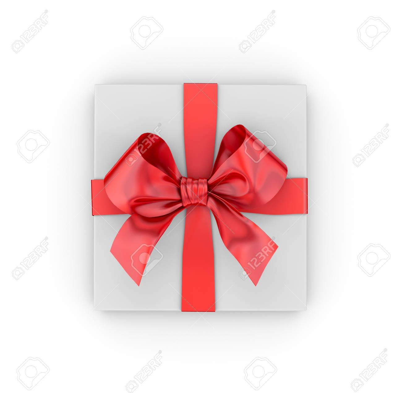 Christmas, New Year's Day , Red Gift Box Top View White Background ...