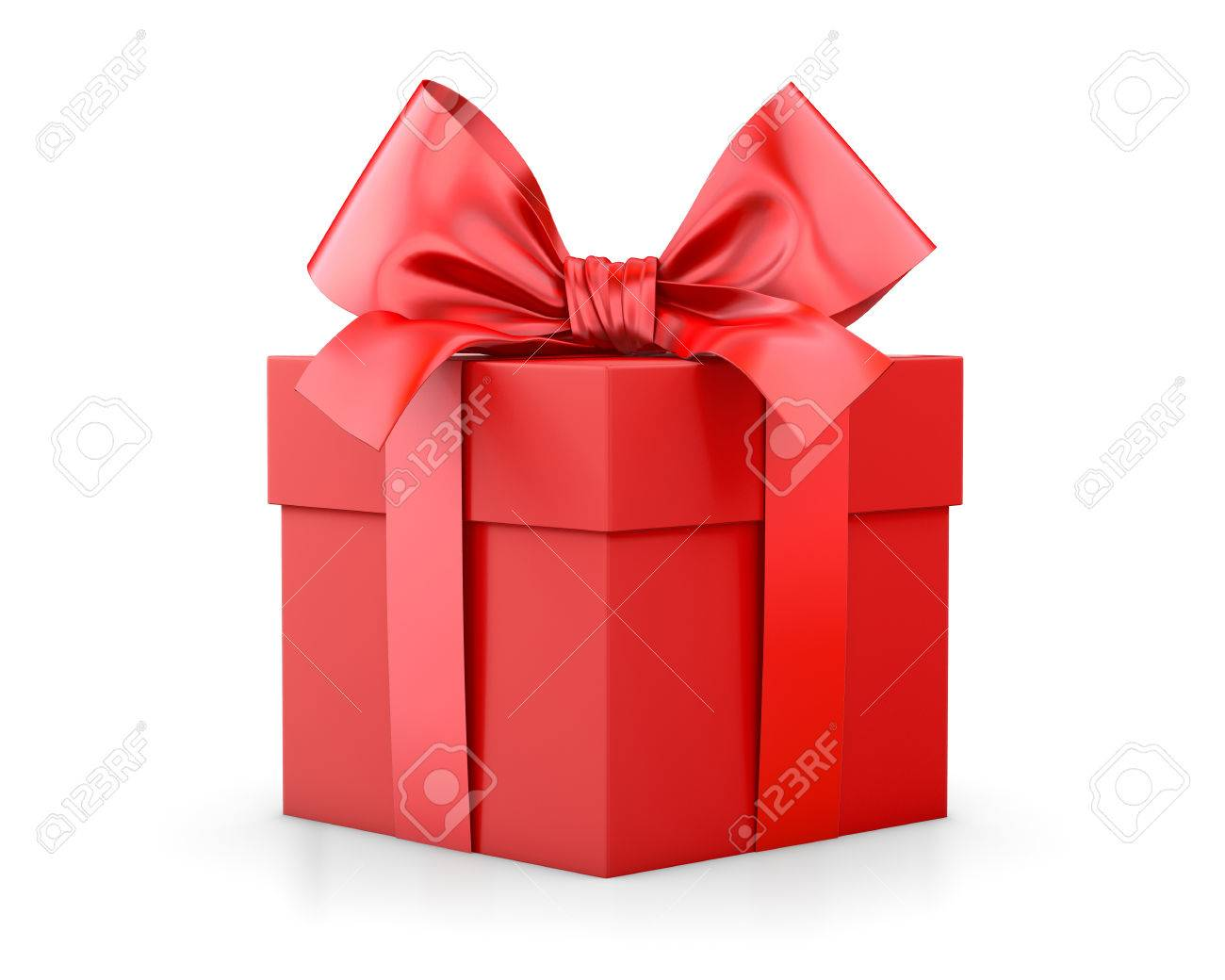 gift box for christmas new years day red gift box white background 3d rendering