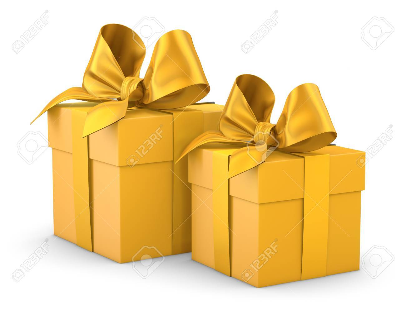 Gift boxes for christmas new years day 2 yellow gift boxes gift boxes for christmas new years day 2 yellow gift boxes white background 3d negle Image collections