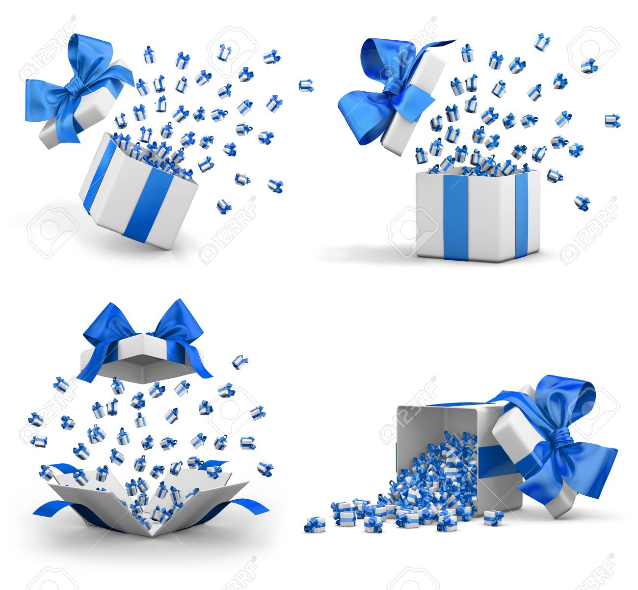 a lot of blue gift box for merry christmas new years day open gift