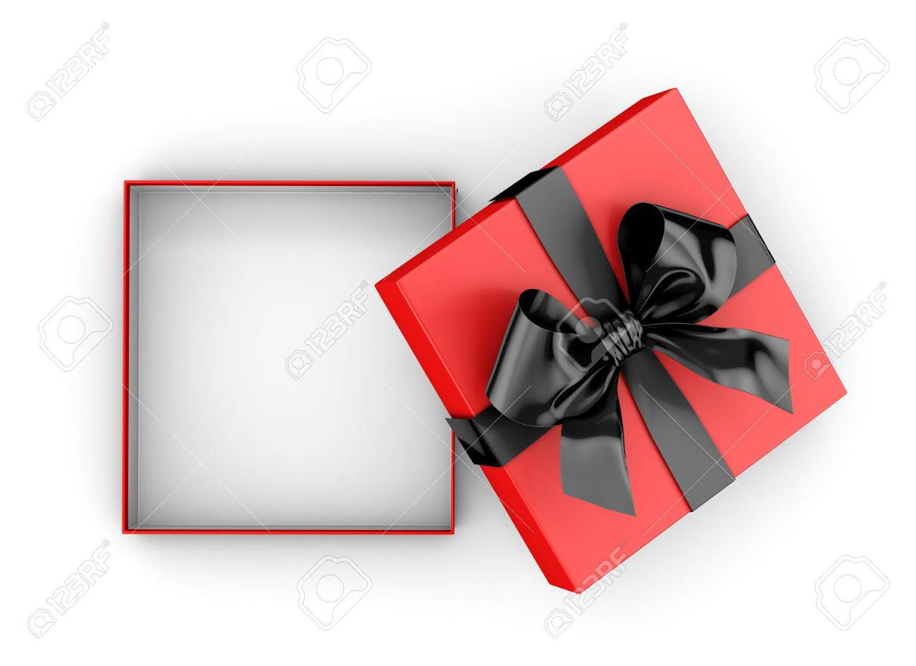 Open gift box for christmas new years day black red gift open gift box for christmas new years day black red gift box top view negle Gallery