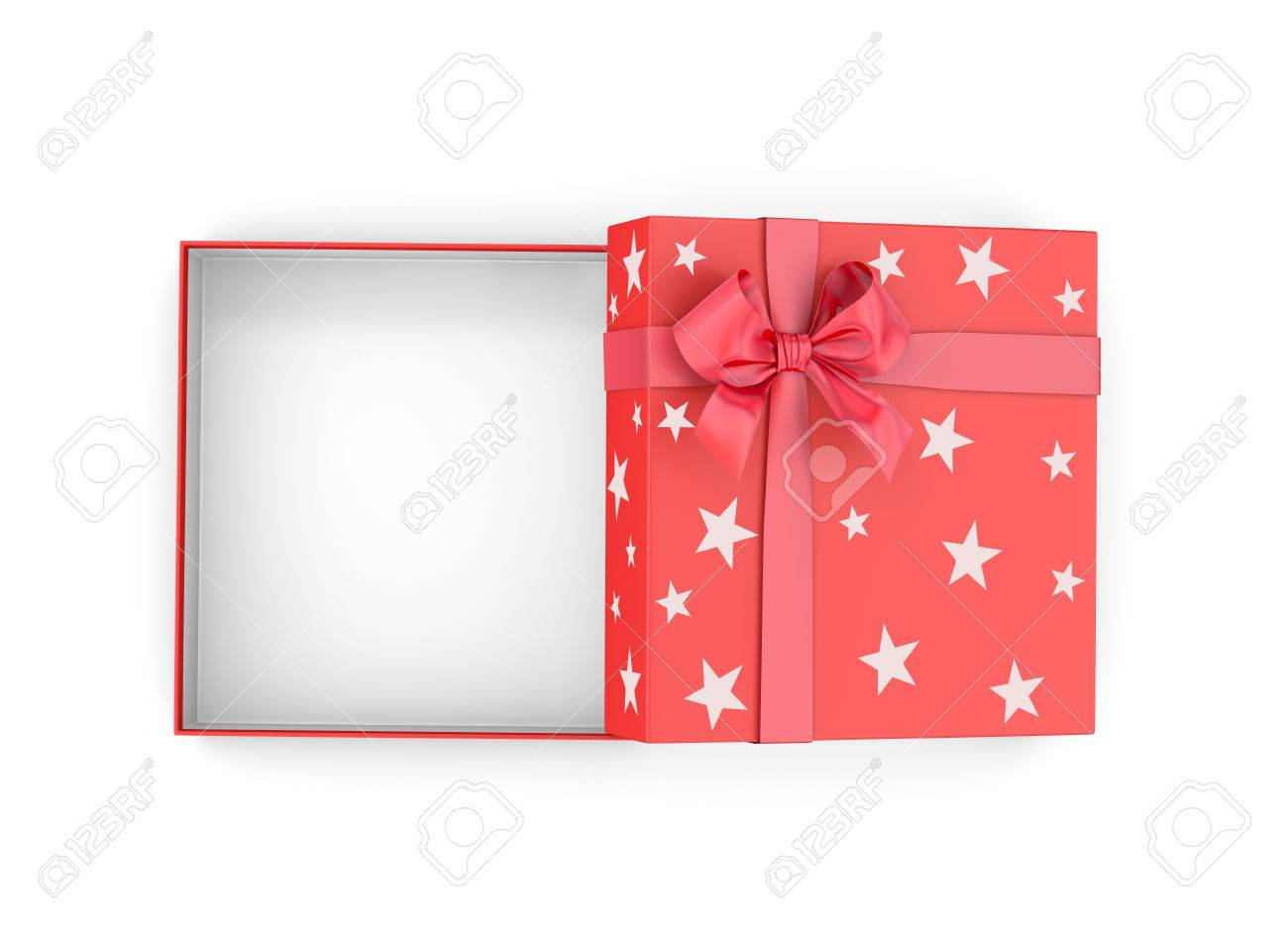 Christmas, New Year's Day ,Open Red Gift Box Top View White ...
