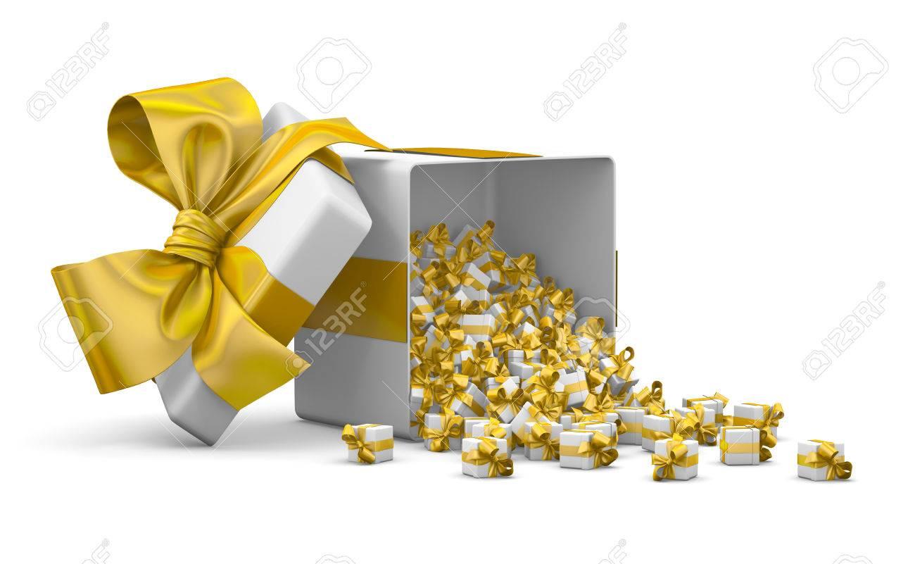Viele Gelbe Geschenk-Box Für Weihnachten, Neujahr, Open Geschenke ...