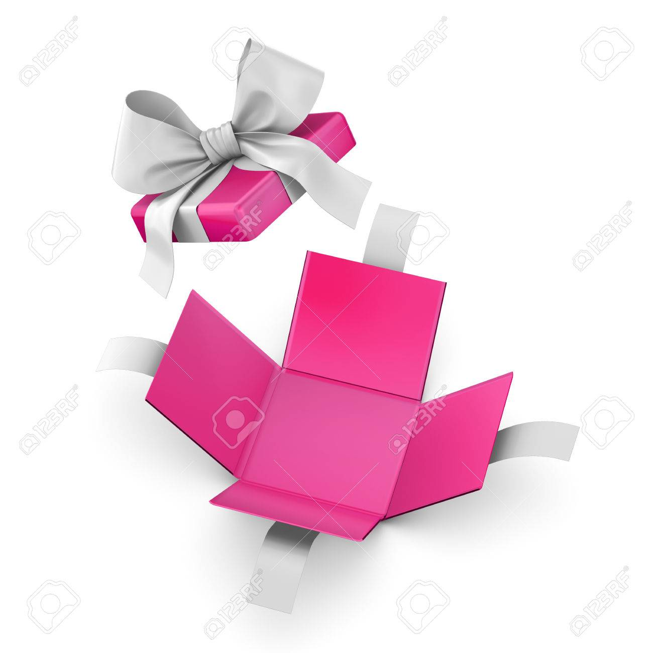 christmas new years day and valentine day concept open pink gift box white background top