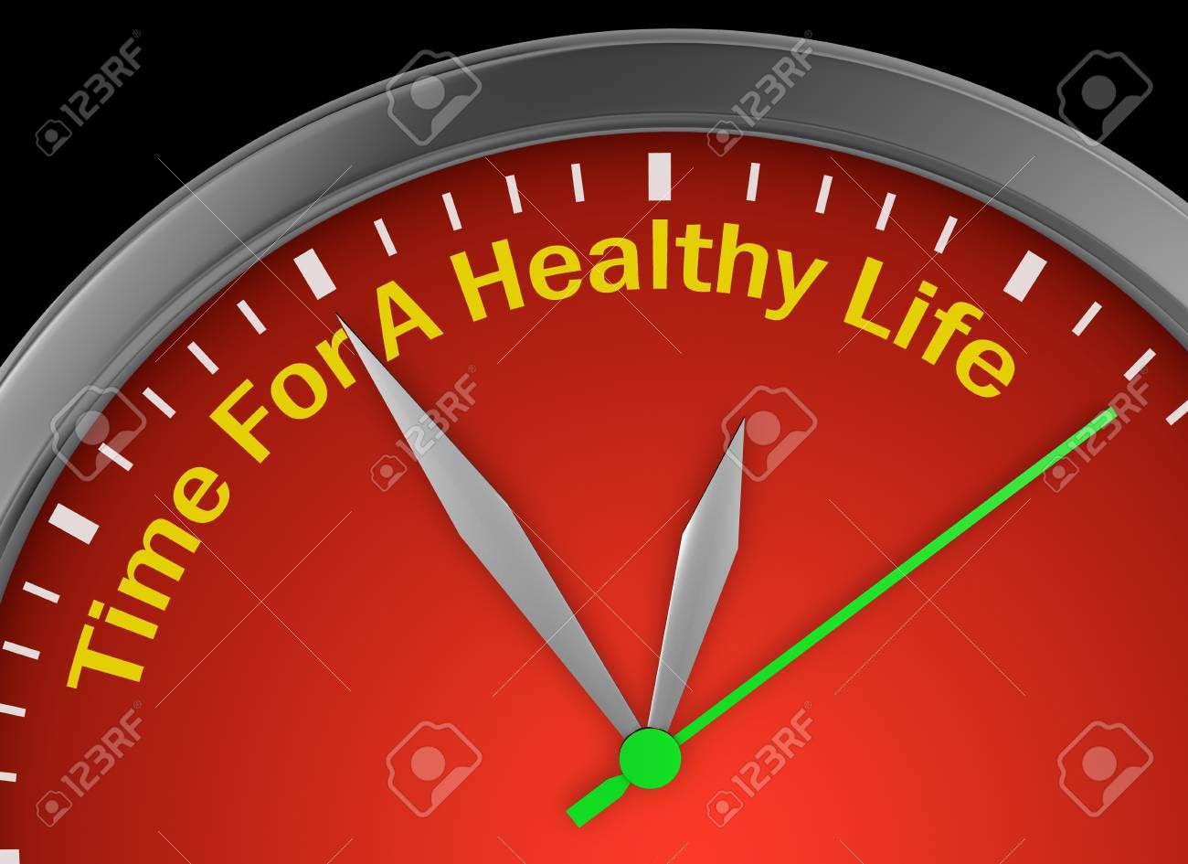 Tiempo Para La Vida De La Vida Sana En El Reloj De Representación 3d