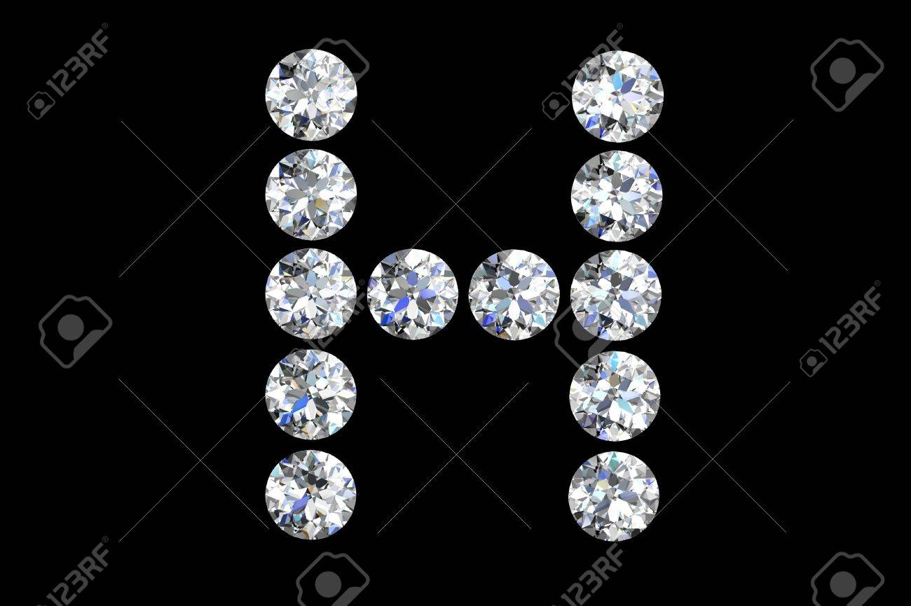 The letter H 3d diamond art illustration Stock Photo - 14413392
