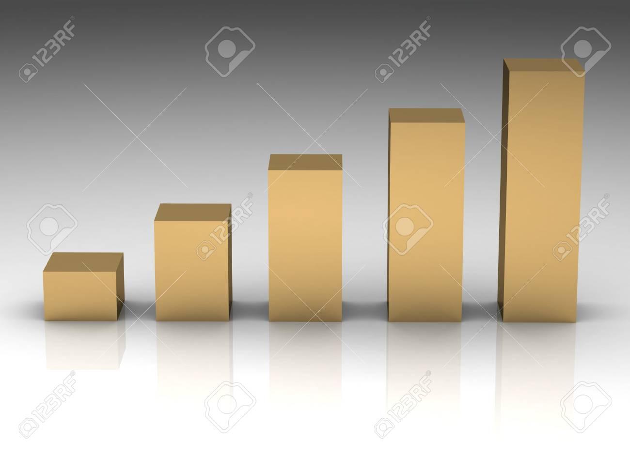 Increasing Gold Bars As Symbol For Wealth Or Treasure Stock Photo