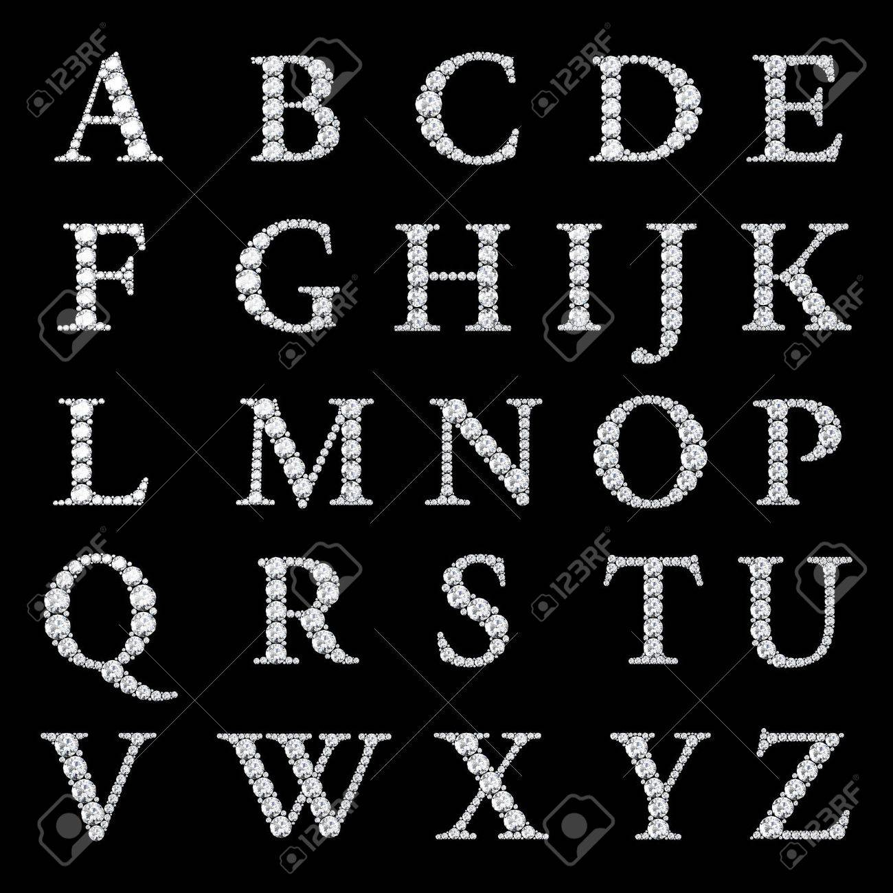 Diamond Alphabet Letters From A To Z Stock Photo