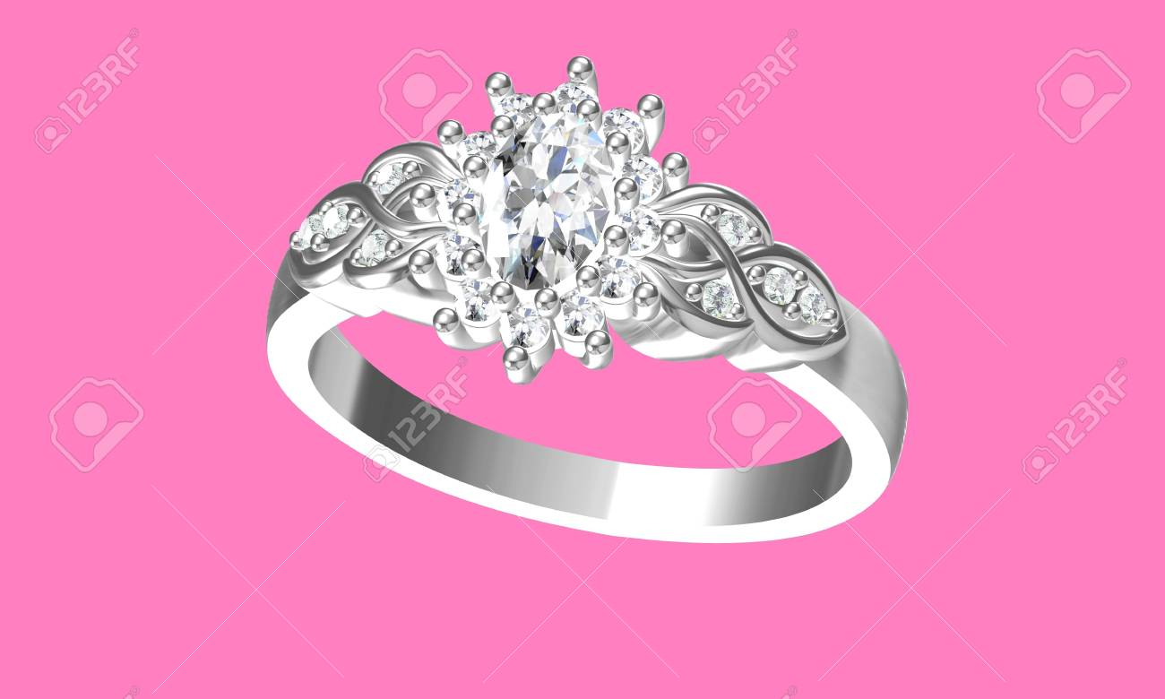 Diamonds Ring On White Gold Body Shape The Most Luxurious.3D.. Stock ...