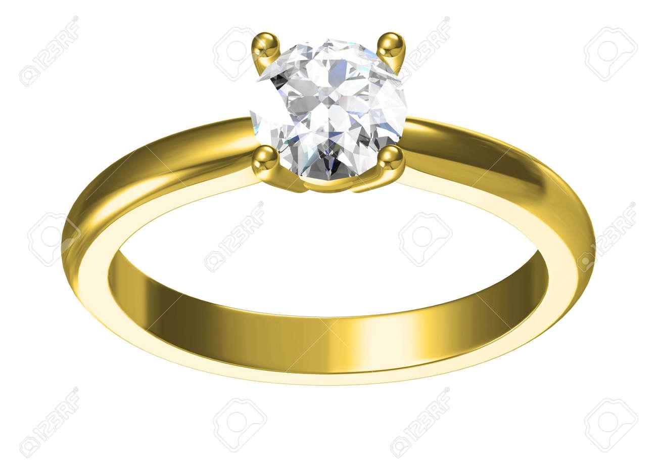 Wedding ring on white background .3D rendering - 165368121