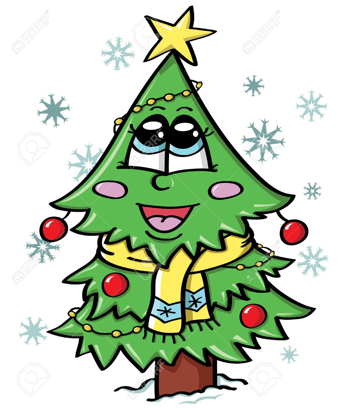 Cute Christmas Pictures.Illustration Of Cute Christmas Tree