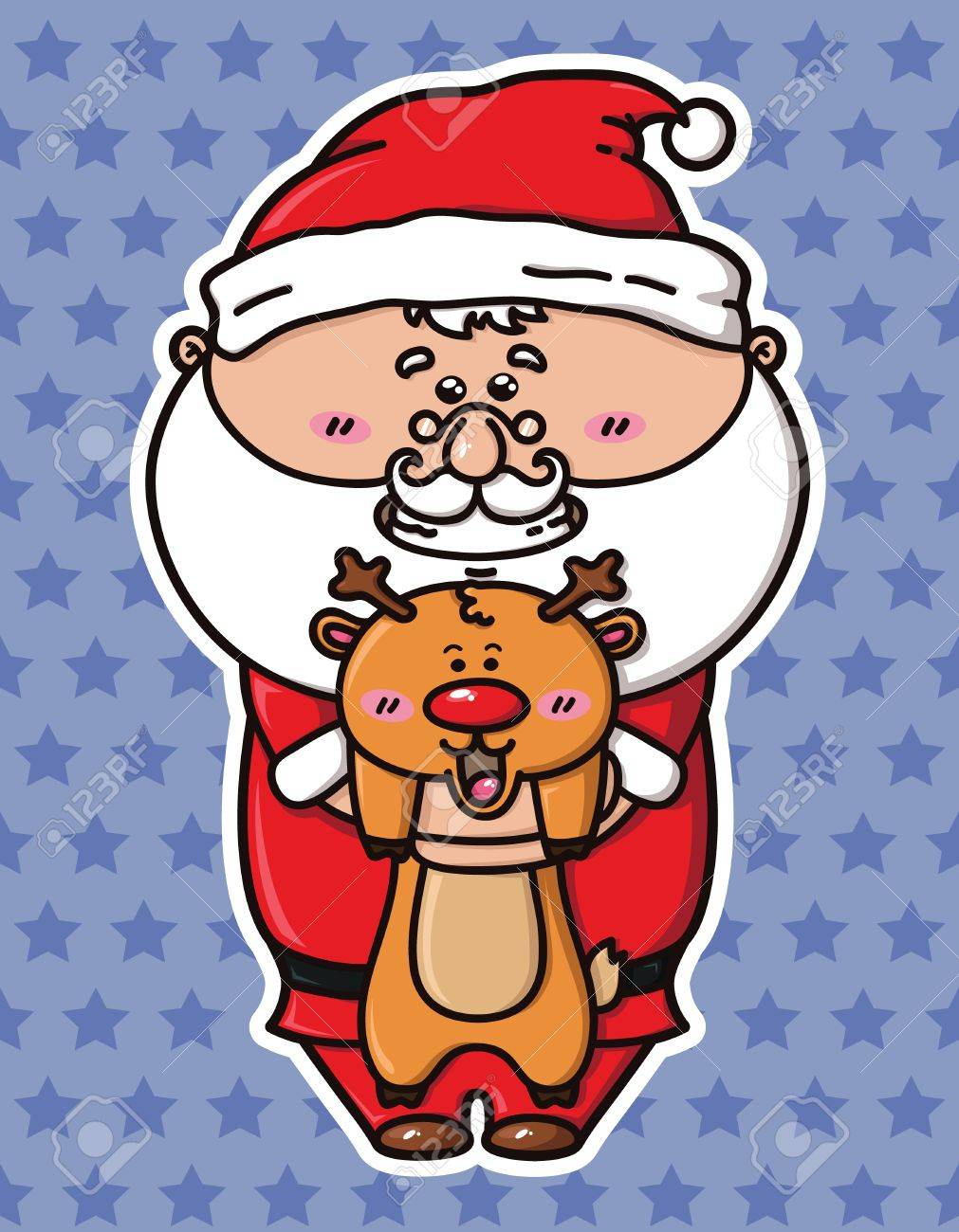 Kawaii Père Noël Qui Tient Le Cerf Clip Art Libres De Droits