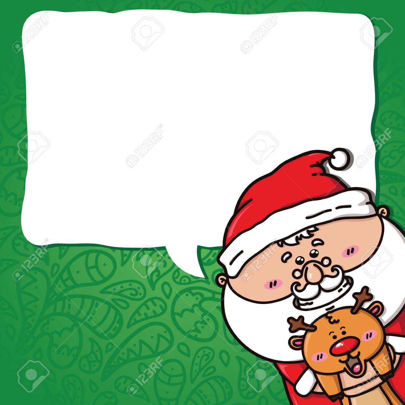 vector Christmas card with kawaii Santa which is holding deer Stock Vector - 22000567