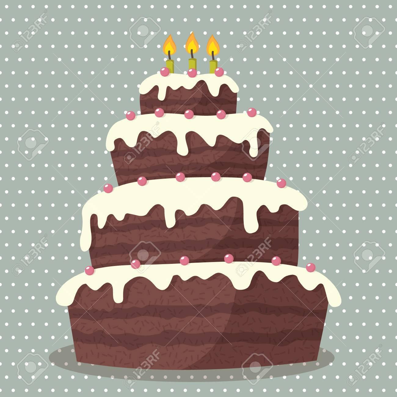 Cool Birthday Cake Illustration Of Cute Birthday Cake With Three Funny Birthday Cards Online Fluifree Goldxyz