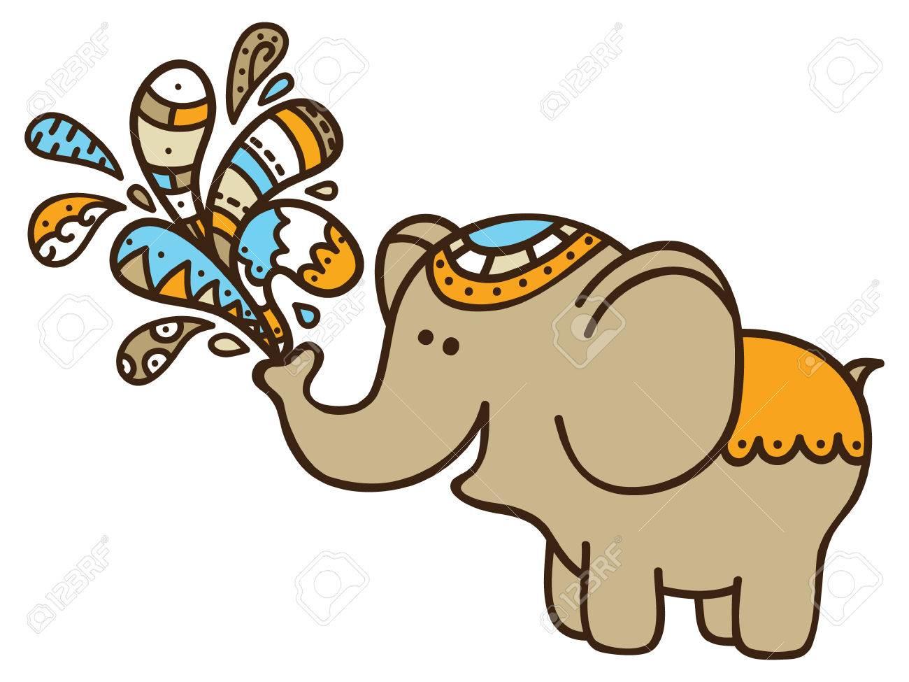 cute doodle elephant vector illustration of adorable cartoon rh 123rf com elephant vector file elephant vector clipart
