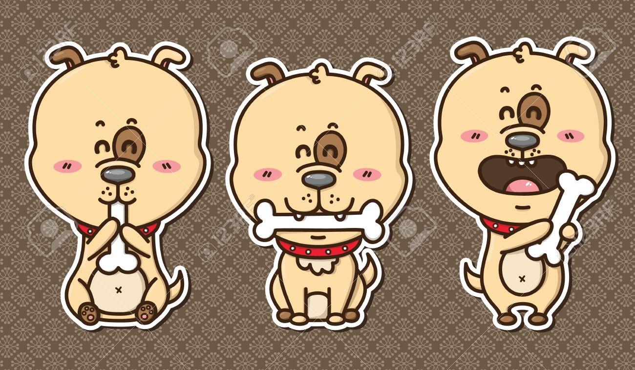 3 Kawaii Puppies Vector Illustration Of 3 Happy Cartoon Dogs Royalty Free Cliparts Vectors And Stock Illustration Image 30645556