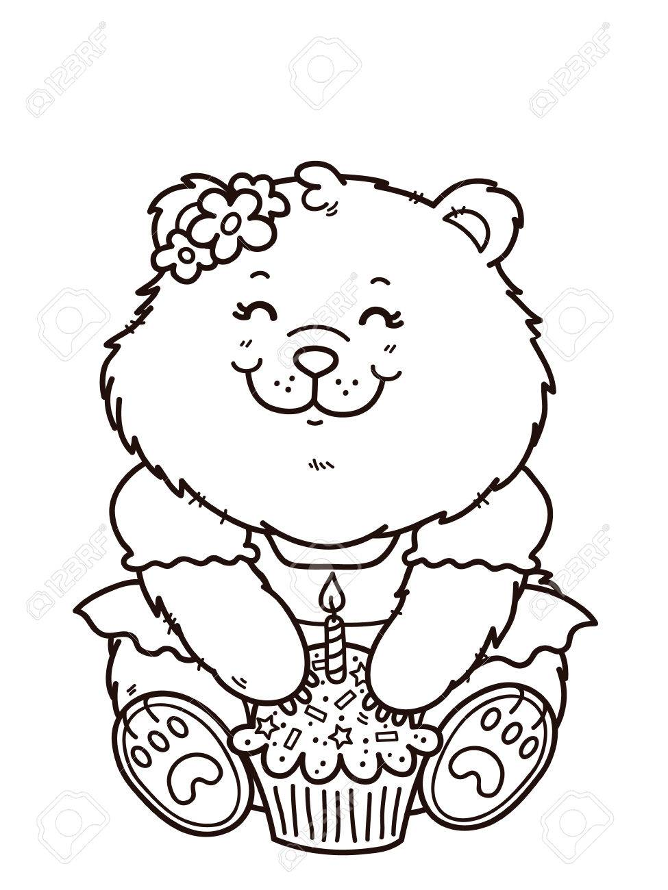 Happy Birthday Girl Bear Vector Digital Stamp Of Cartoon For Card Making Scrap