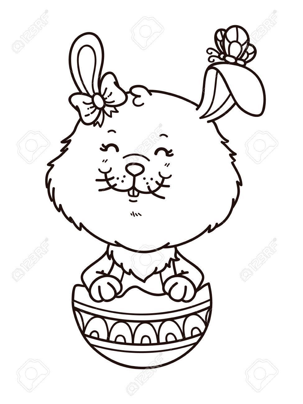 Feliz Conejito Chica Pascua. Vector Sello Digital Del Conejo De ...