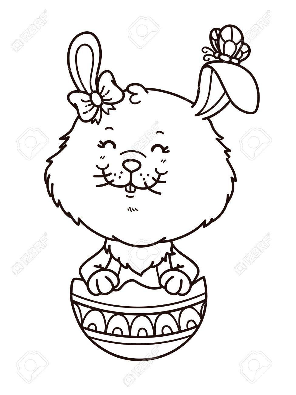 Happy Easter Girl Bunny Vector Digital Stamp Of Cartoon Bunny – Easter Stamps Card Making