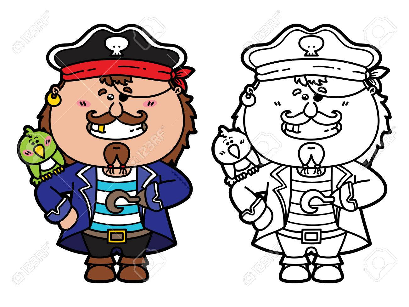 funny pirate vector illustration coloring page of happy cartoon