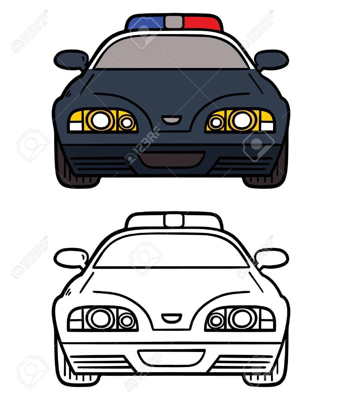 police car vector illustration coloring page of cartoon police