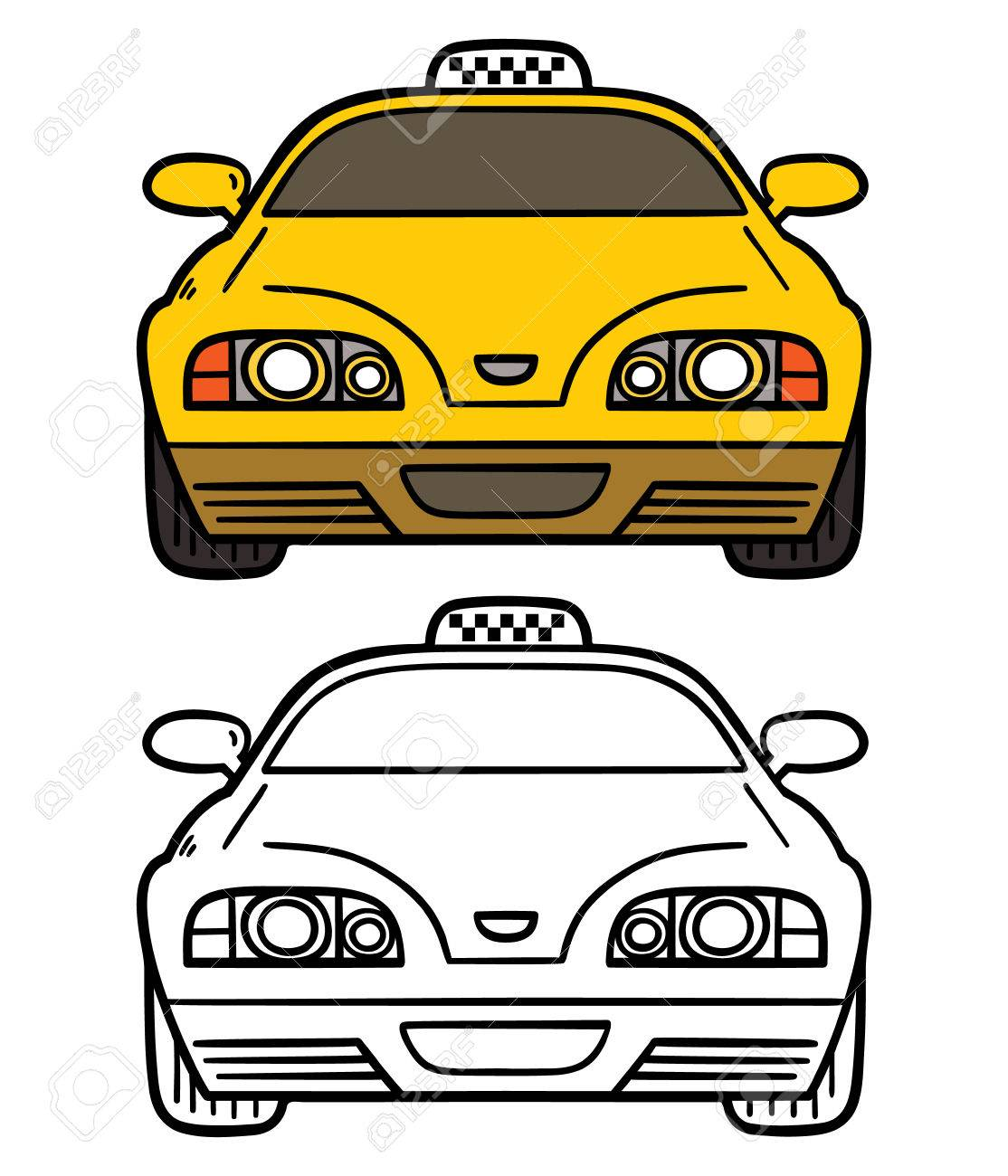 Yellow Cab Vector Illustration Coloring Page Of Cartoon Taxi