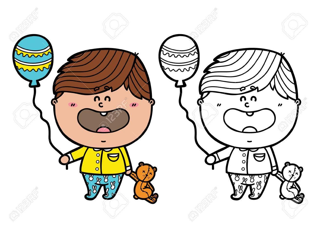 funny boy vector illustration coloring page of happy cartoon