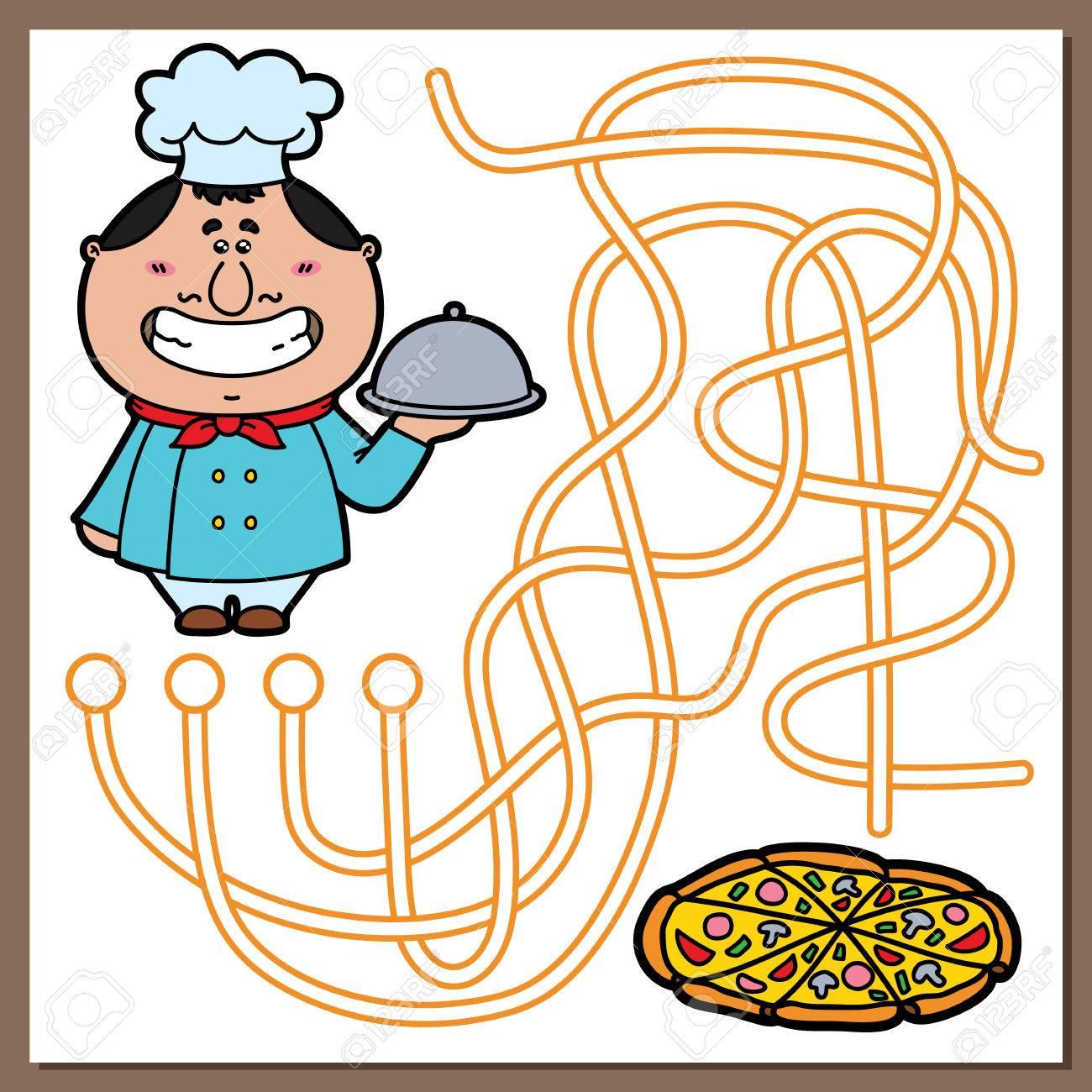 Cocinar Juego Ilustracion Vectorial De Laberinto Laberinto Juego