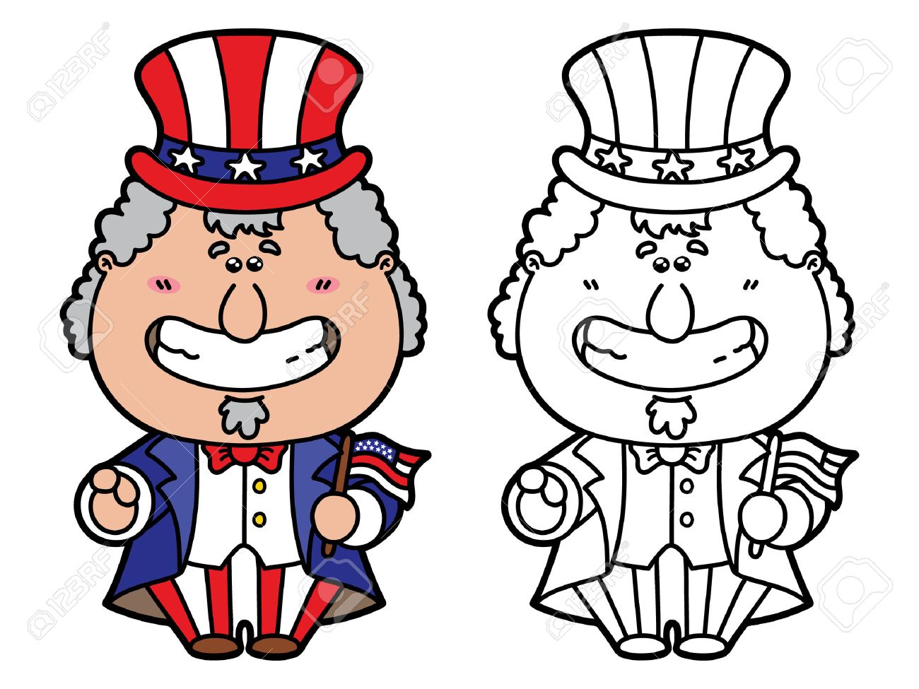funny uncle sam vector illustration coloring page of happy cartoon uncle sam which is holding - Uncle Sam Hat Coloring Page