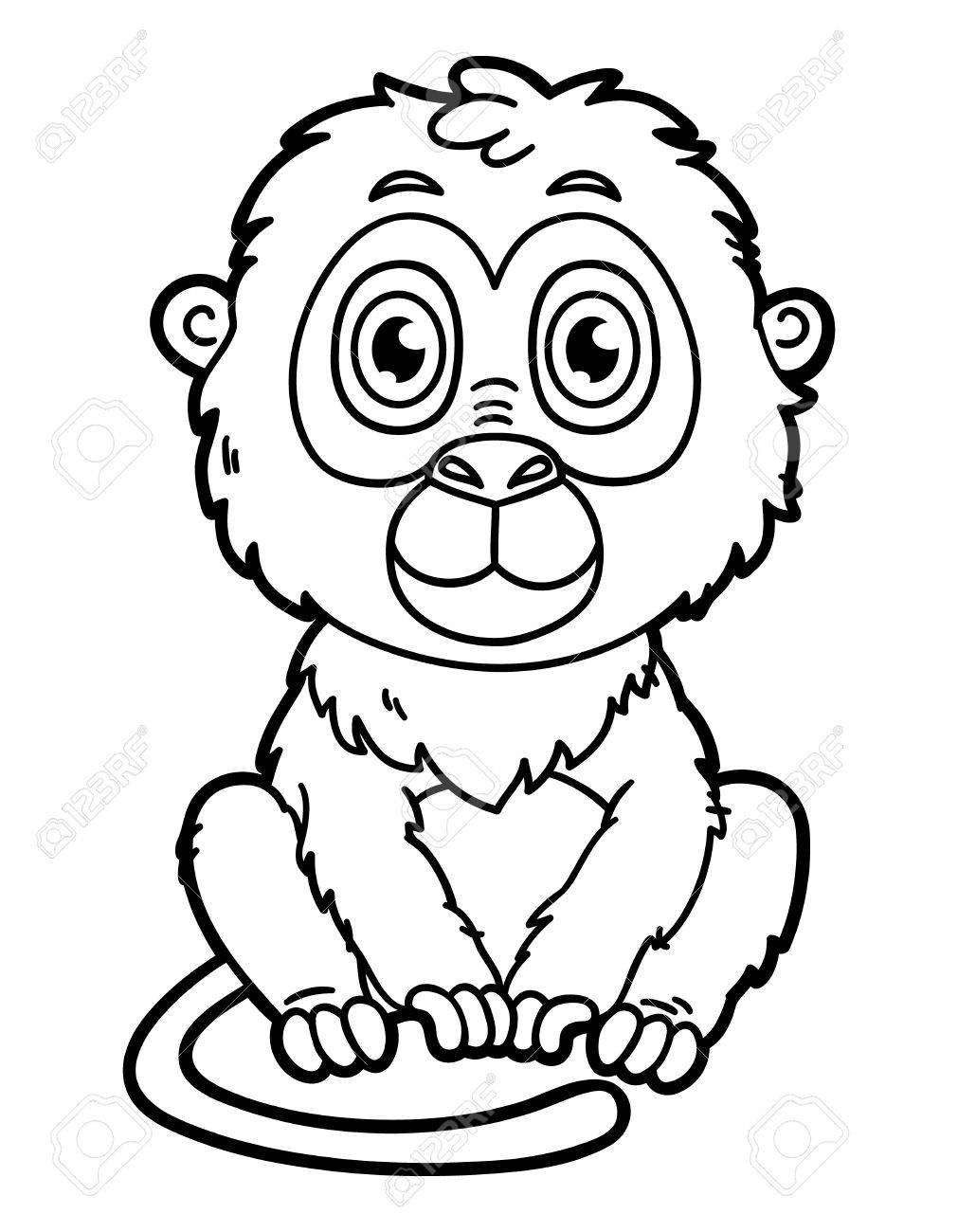 funny monkey vector illustration coloring page of happy cartoon