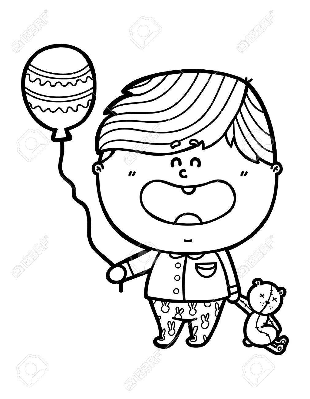 Chico Divertido Vector Ilustración De La Página Para Colorear De Dibujos Animados Feliz Amigable Bebé Que Sostiene Un Globo Y El Oso Para Los Niños Y