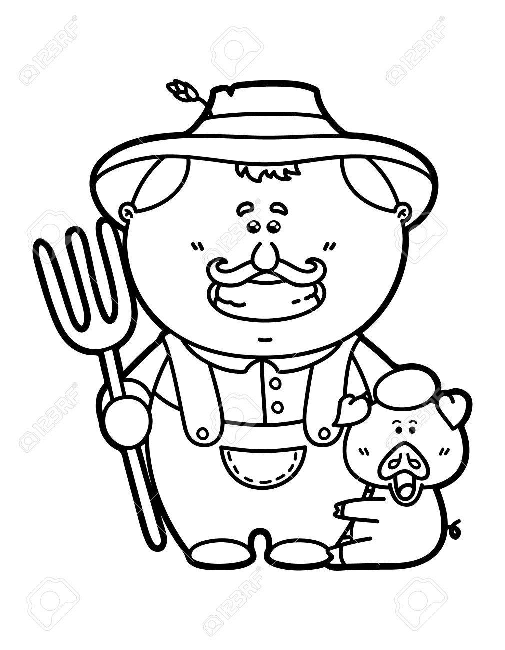Granjero Divertido Vector Ilustración De La Página Para Colorear De Dibujos Animados Feliz Amigable Granjero Que Sostiene Un Tridente Para Niños Y