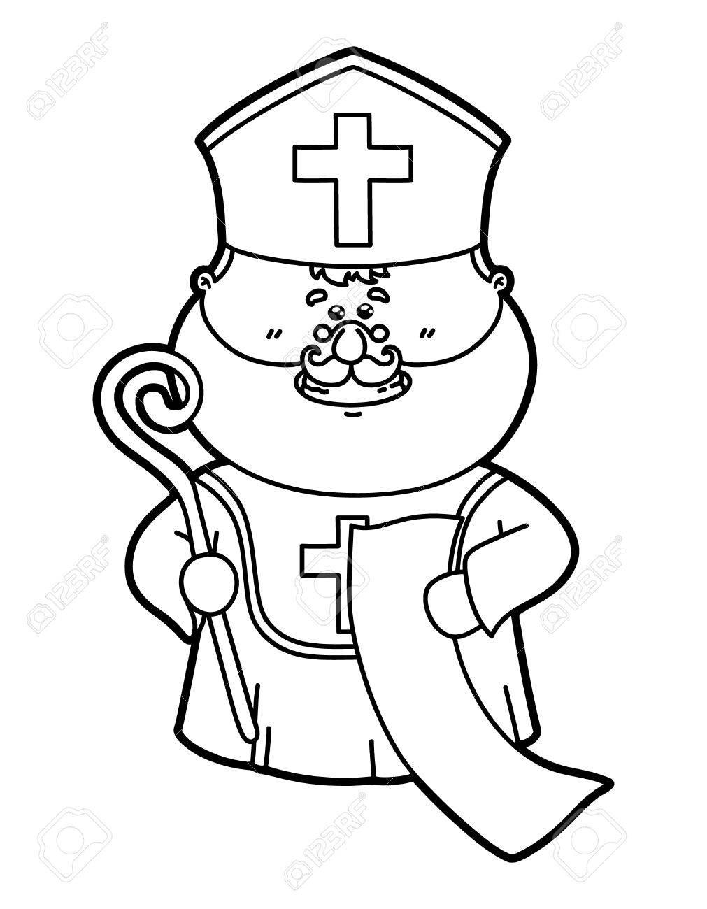 Lustigen St Nicholas Vektor Illustration Von Lustigen Malvorlagen